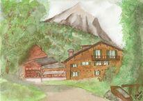 Berge, Grafik, Aquarellmalerei, Hotel