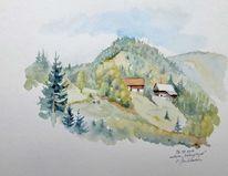 Bauernhof, Steiermark, Herbst, Aquarellmalerei