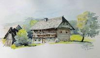 Bauernhof, Steiermark, Aquarellmalerei, Oberwoelz