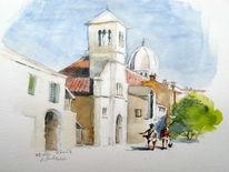 Altstadt, Kroatien, Aquarell