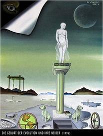 Surreal, Malerei, Geburt, Evolution