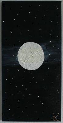Nacht, Krater, Malerei, Mond