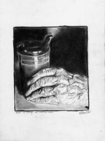 Zeichnung, Hand, Alt, Portrait