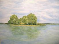 Landschaft, Malerei, Insel