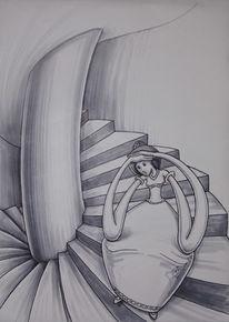 Turm, Illustration, Treppe, Marker
