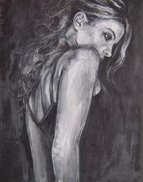 Acrylmalerei, Portrait, Mann, Schreck