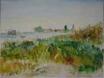 Bodensee, Landschaft, Aquarell, Blick
