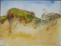 Meer, Malerei, Dünen, Landschaft