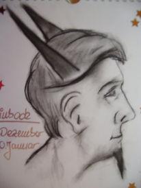 Zeichnung, Zeichnungen, Steinbock