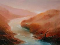 Herbst, Wasser, Isar, Laub