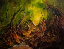 Wasser, Baum, Quelle, Wald