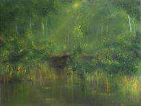 Uferweg, Wasserrand, Malerei
