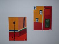 Bunt, Laterne, Stoppschild, Haus