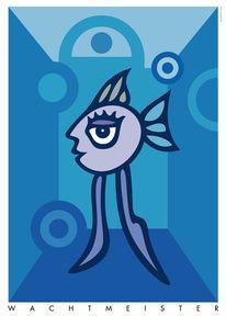 Farben, Weiblich, Figur, Fisch