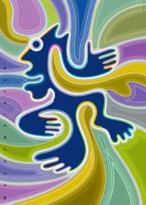 Farbdruck, Farben, Hand, Figur