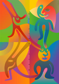 Farbdruck, Formen, Figur, Muster