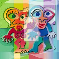 Farben, Paar, Formen, Figurativ