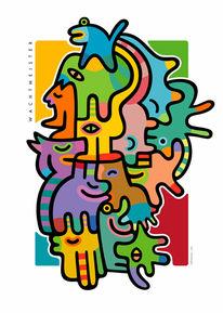 Farbdruck, Farben, Figur, Formen