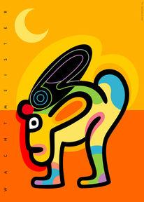 Gelb, Grafik, Farben, Mondschein