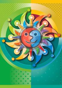 Farbflächen, Profil, Sonne, Figur
