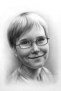 Kind, Portrait, Bleistiftzeichnung, Zeichnung