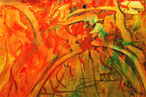 Abstrakt, Malerei, Kuss, Rot