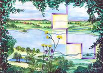 Fluss, Elbe, Malerei, Landschaft