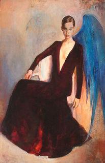Figural, Frau, Akt frau engel, Malerei