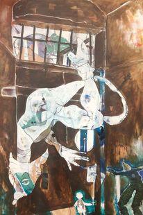 Seepferdchen, Tür, Schielen, Malerei
