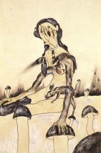 Sammeln, Pilze, Akt, Malerei