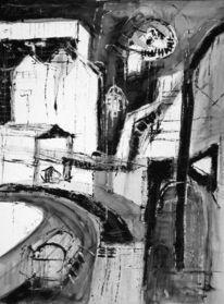 Malerei, Haus, Tuschmalerei, Stadt