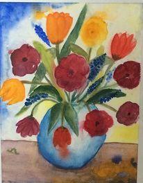 Raupe, Vase, Frühlingsblumen, Aquarell