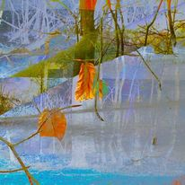 Baum, Orange, Türkise erde, Digitale kunst