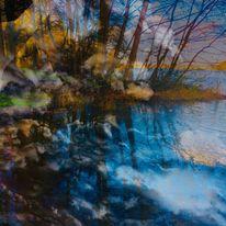 Baum, Spiegelung, See, Wolken