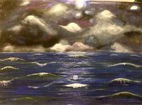 Abendhimmel, Wolken, Welle, Nahendes unwetter