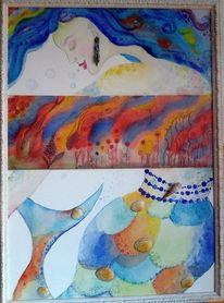 Meejungfrau, Ohrringe, Fisch, Wasserwelt