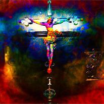 Jesus, Kreuz, Iris, Pupille