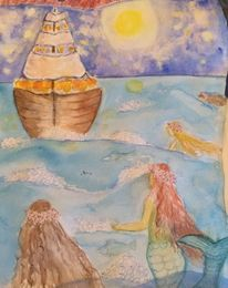 Abend, Meerjungfrau, Gischt, Schiff