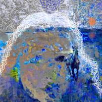 Pferde, Wasser, Gestalt, Phantasielandschaft