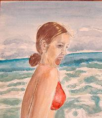 Wasser, Malerei, Mädchen, Menschen