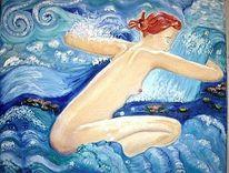 Wasser, Seerosen, Gesichter, Malerei