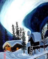 Malerei, Figural, Nordlicht, Haus