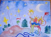 Malerei, Sternenfähnchen, Stern, Wäschemast