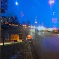 Nachthimmel, Auto, Straße, Licht