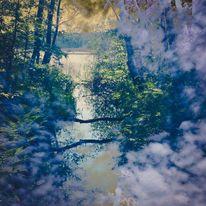 Wasser, Wolken, Baum, Digitale kunst