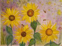 Sonnenblumen, Biene, Stern, Mischtechnik