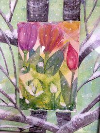 Tulpen, Schneeglöckchen, Baumstamm, Mischtechnik