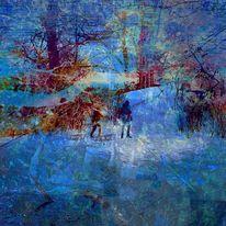 Winter, Schlittenkinder, Baum, Violine