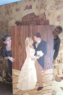 Hochzeit, Marketerie, Brautpaar, Intarsienbilder