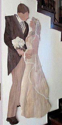 Mädchen, Brautstrauß, Alles holz, Intarsienbilder